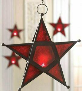 MOROCCAN RED GLASS STAR HANGING LANTERN W/ CUTOUTS ** Candles, LED ** NIB