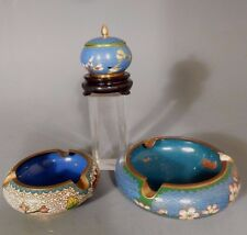 Group of China Chinese Cloisonne articles 2 Ashtray's & Lidded Box ca. 20th c.