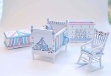 Artisan CIRCUS NURSERY Pastel Clowns Hand Painted 1:12 Miniature Dollhouse Crib