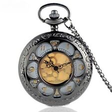 STUNNING BLACK PETAL GOLDEN DIAL Quartz Pendant Pocket Watch  - Great Gift Idea