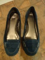 MERONA size 7.5 teal suede leather slip on penny loafer shoes with rubber soles