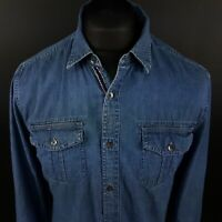 GUESS Mens Shirt SMALL Long Sleeve Blue Regular Fit No Pattern Cotton
