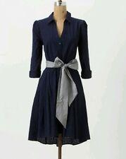 Moulinette Soeurs Anthropologie Dakota Shirt Dress Button Up Navy Blue Size 2