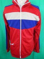 Vintage 1970s Red Blue Tan Polyester Ambassador Zip-Up Training Jacket 100cm
