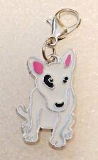 White Bull Terrier Dog Pup Bag Purse Charm Dangle Zipper Pull