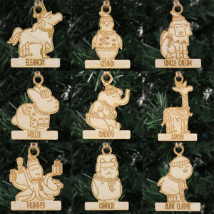 Christmas Baubles Personalised Animal Wooden Xmas Tree Decoration Laser Cut