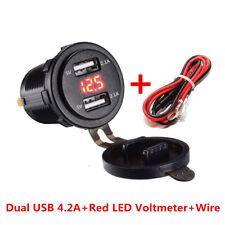 12-24V Car Motorcycle 4.2A Dual USB Charger Socket with Red LED Voltmeter &Cable