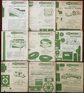 Hobbies Design Supplements x 9 Timber Lorry, Fire Engine, Flying Bird etc. 1950s