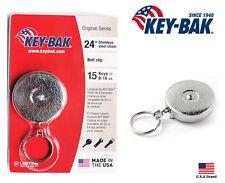 """Key-Bak Retractable Key Reel Silver Standard Duty 24"""" Stainless Steel Chain"""