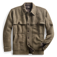 RRL Ralph Lauren Harris Tweed Wool Cashmere Workshirt Sweater Jacket-MEN- XL