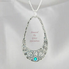 Blue Opal Pendant in SOLID 925 Sterling Silver - with 925 Chain
