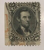 Travelstamps:1861-66 US Stamp Scott #77,15c Lincoln, Used, Ng, Hinged