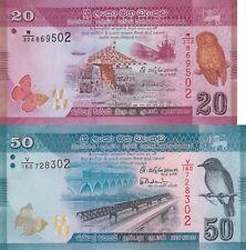 Sri Lanka 2 Note Set: 20 & 50 Rupees (2015.02.04) p123c & 124d UNC