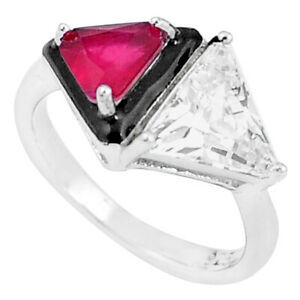 5.53cts Red Ruby (lab) Topaz Enamel 925 Silver Solitaire Ring Size 6 C20483
