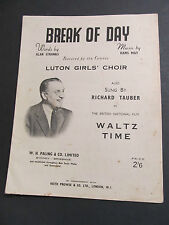 Vintage Voice and Piano Music Sheet - Richard Tauber, Break of Day