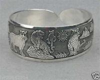 Tibetan Tibet Silver Totem Bangle Cuff Bracelet tiger