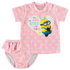 Minions Eyes For Your Rash Vest Swimsuit Swimwear Pink 2 piece Set Size 2