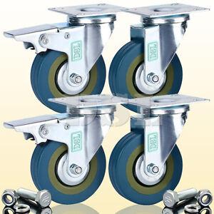 DSL Heavy Duty 75mm Rubber Swivel Castor Wheels Furniture Trolley Caster 360KG