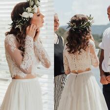 Vintage White Wedding Jacket Top Lace Applique Bridal Bolero Long Sleeve Wraps
