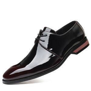 Mens Business Formal Dress Suit Casual Patent Leather Lace Up Comfortable Shoes