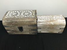 2 X Trinket Box Toe Rings Watches Cuff links Coins 100% MANGO WOOD HAND CARVED