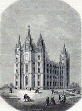 Antique print mormon church temple Great Lake city ,Utah,USA  1859