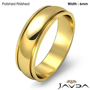 6mm Men Wedding Solid Band Dome Step Plain Ring 18k Yellow Gold 7.2g 12-12.75