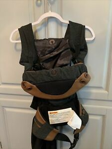 Boppy ComfyFit Baby Carrier Wrap Black Heather Gray Brown Vegan Leather