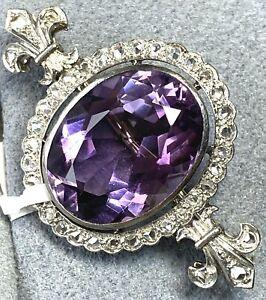 Antique Fleur-De-Lis 18K White Gold Amethyst Rose-Cut Diamond Halo Brooch Pin
