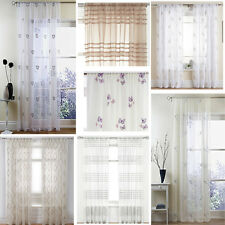 Assorted embroidered voile slot top panels pairs, multi colours & patterns SALE