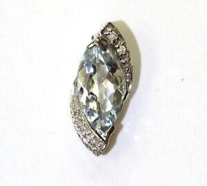 10k white gold .06ct SI2 H diamond aquamarine pendant charm 1.1g ladies estate
