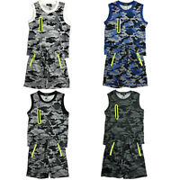 Boys Kids Vest T-Shirt Short Set Camo Army Camouflage Summer