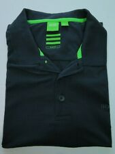 Hugo Boss Neon Green Label Gray Spell Out Stretch Slim Fit Polo Shirt XXL 2XL