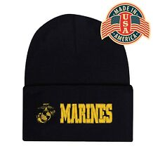 Military MARINES Cuffed Embroidered Beanie Hat Skull Cap Head Wear Blk Capsmith