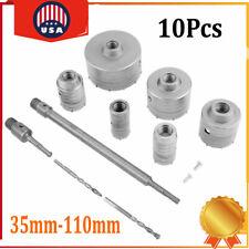 10pcs Core Drill Set Sds Plus Extension Shank Masonry Hole Cutter 35mm 110mm
