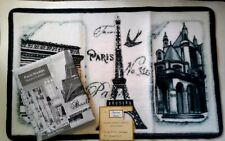 Paris Eiffel Tower Fabric Shower Curtain and Hand Carved Bath Mat