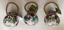 HOME Set Of 3 Hanging Solar Powered Lights Artisan Floral Round Glass Jars