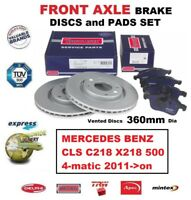 FOR MERCEDES CLS C218 X218 500 4-matic 2011-on FRONT AXLE BRAKE PADS + DISCS SET