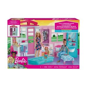 Barbie Doll House Portable Close & Go Fully Furnished Pool Play Set Gift Girl F1