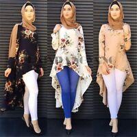 Women Muslim Long Sleeve Blouse Dress Islamic Vintage Kaftan Abaya Maxi Top