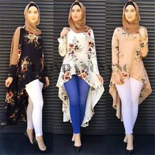 Women Muslim Long Sleeve Blouse Dress Islamic Vintage Kaftan Abaya Maxi Top