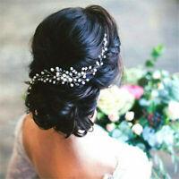 Womens Wedding Bridal Bride Headpiece Pearl Crystal Hair Comb Clip Accessories
