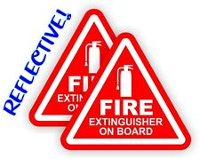 Pair REFLECTIVE 2 inch Fire Extinguisher on Board Vinyl Decals Stickers 4x4 Jeep