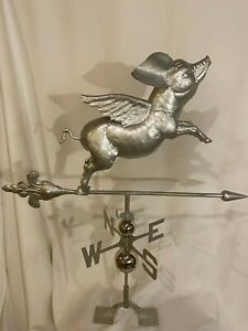 XLARGE Handcrafted 3- Dimensional FLYING PIG Weathervane Stainless Steel Finish