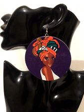 Womens STATEMENT Big Large Afrocentric AFRICAN Ethnic Hook Drop Dangle Earrings