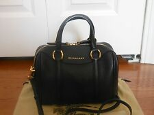 NWT Burberry Alchester $1495Small Leather Bowler Tote Satchel Shoulder Bag Black
