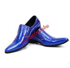 men leather shoes pointy toe slip on british style fashion nightclub formal new