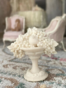 Vintage Miniature Dollhouse Artisan Vince Stapleton? Bisque Footed Fruit Bowl