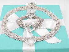 Tiffany & Co. Silver Multi Strand Heart Mesh Necklace Bracelet Set