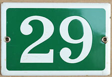Old green French house number 29 door gate plate plaque enamel steel metal sign